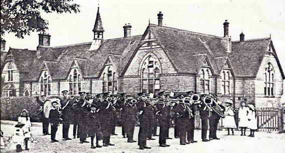 Manea Silver Band outside Manea School c.1920s