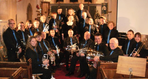 Manea Silver Band in their new uniform at the 2012 relaunch concert, St Nicholas's Church, Manea